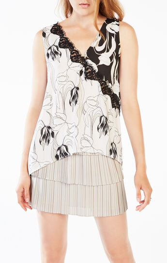 Adalia Tulip Print-Blocked Tank Top