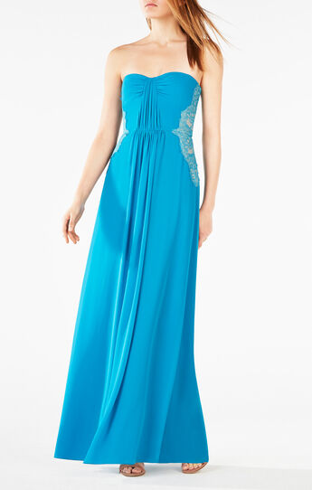 Ashby Strapless Lace-Trim Gown