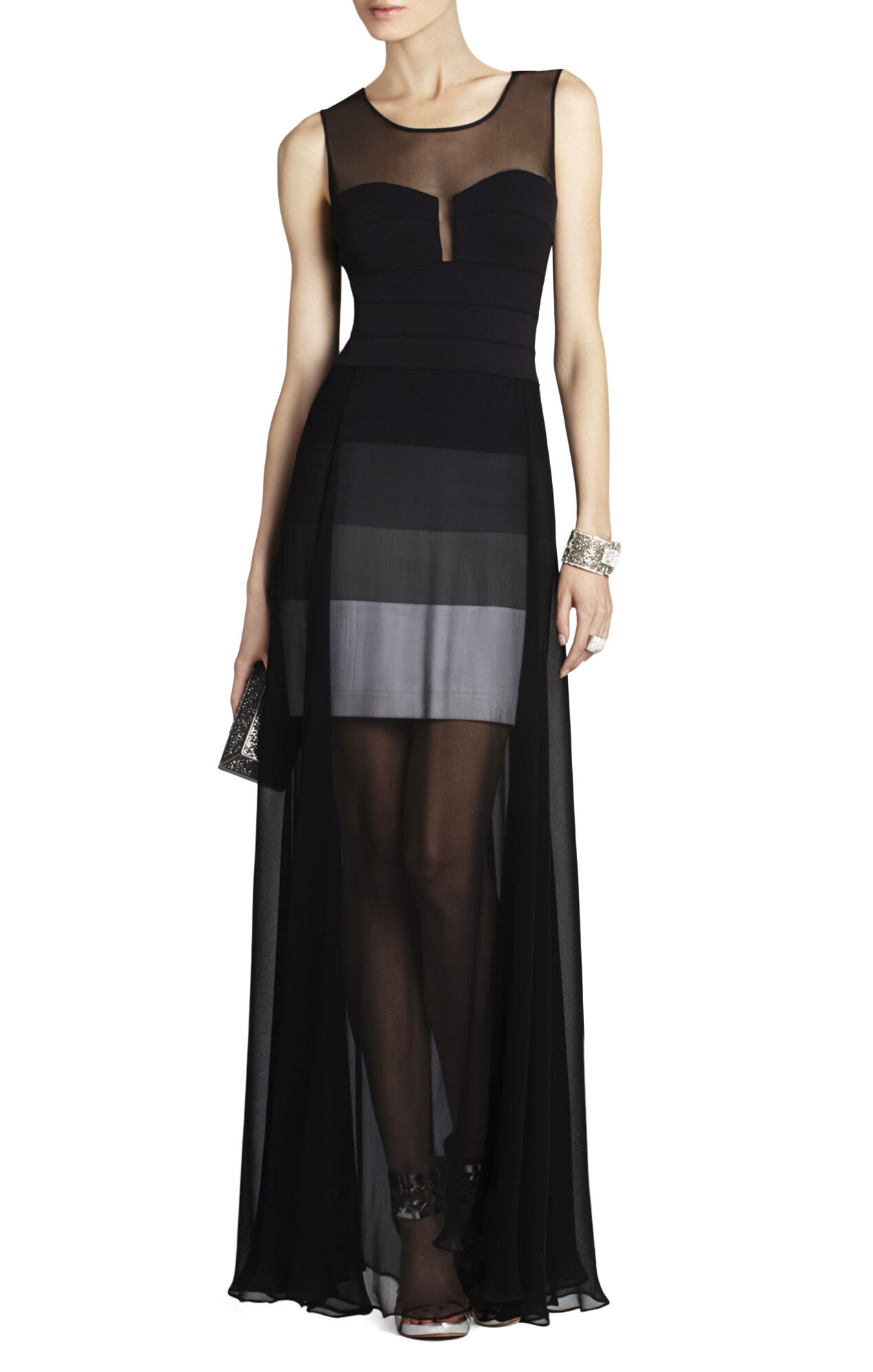 Alai Banded Knit Dress with Chiffon Overlay