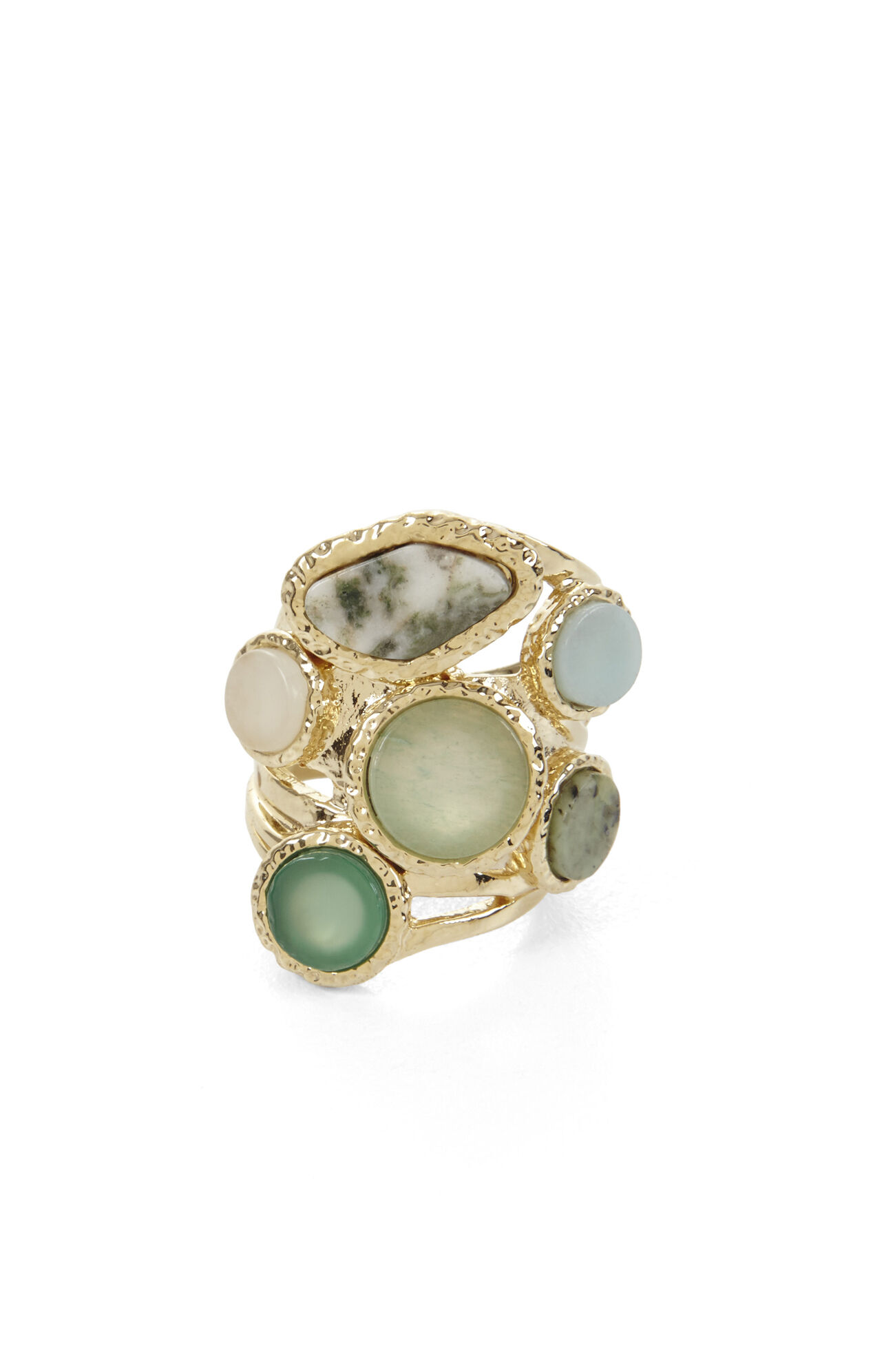 Hammered Multi-Natural Stone Ring