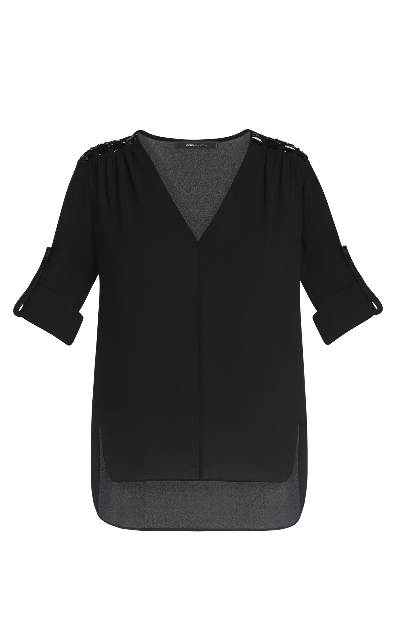 Cassidee V-Neck Embellished Shoulder Blouse
