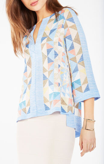 Kalena Triangle Print High-Low Top