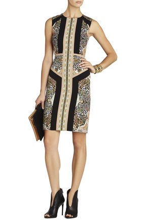 Lauren Blocked Scarf-Print Sleeveless Dress