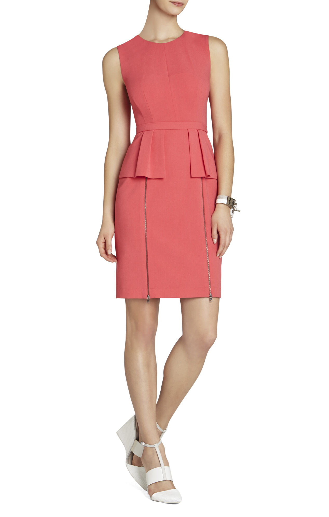 Ashleigh Sleeveless Zipper Peplum Dress