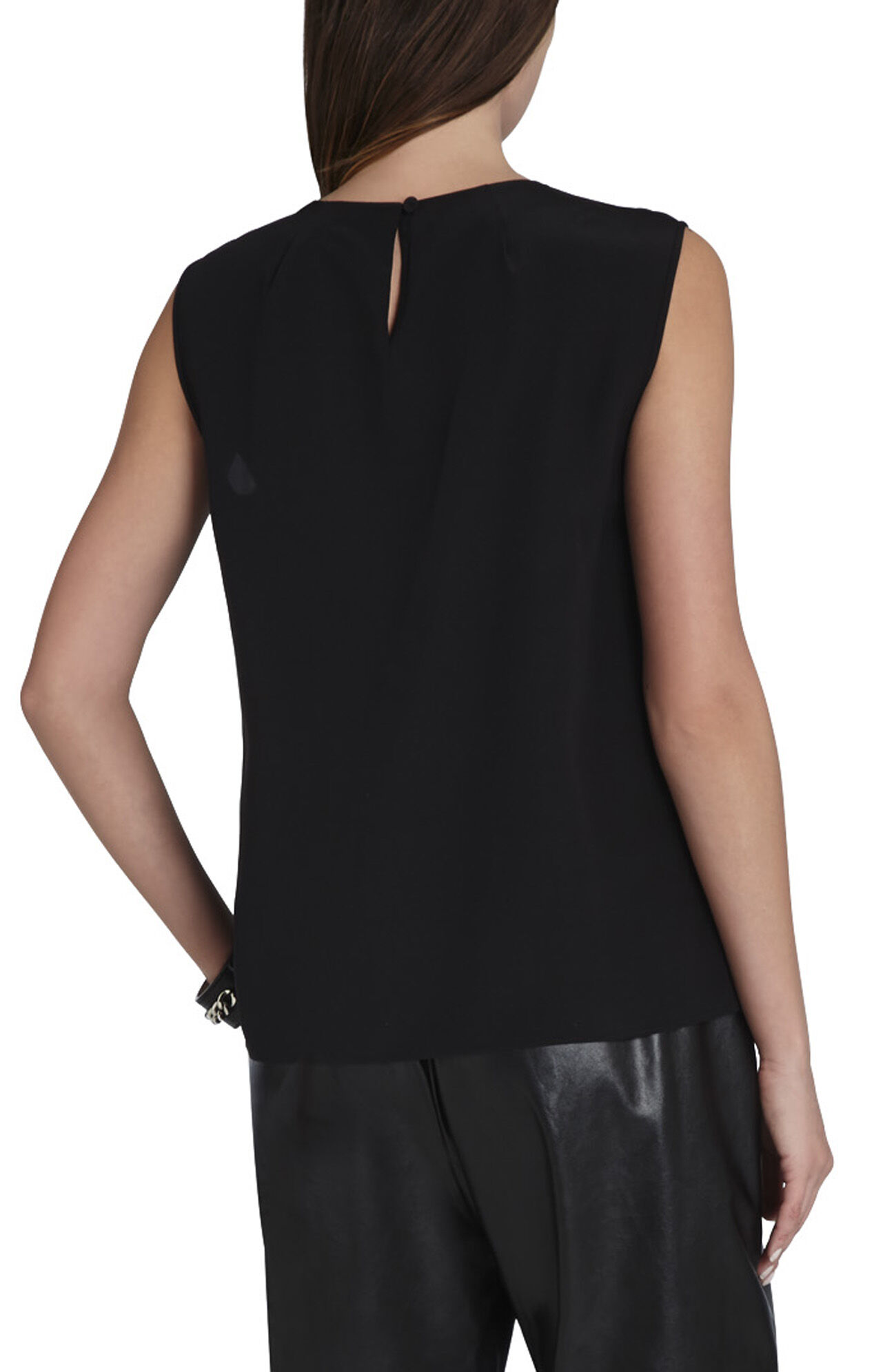 Lauren Beaded-Neck Silk Top
