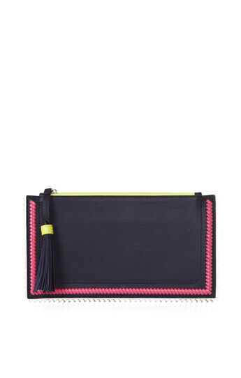 Carissa Leather Whipstitch Detail Ziptop Clutch