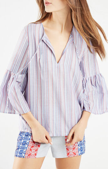 Serene Striped Peasant Top
