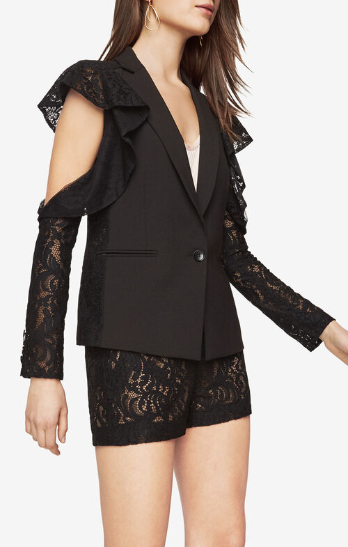 Abel Cold-Shoulder Lace Blazer