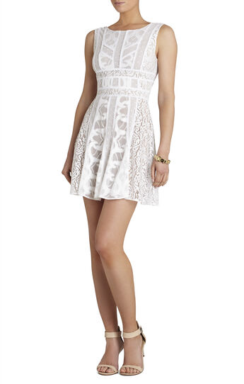 Kelley Sleeveless Lace-Blocked Dress