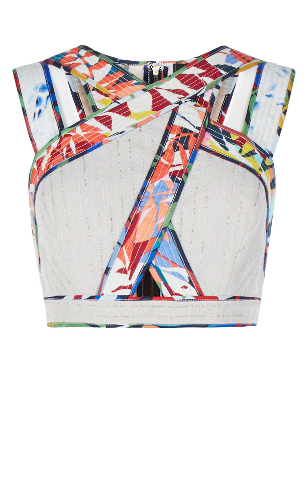Alisa Palms Print-Blocked Crop Top