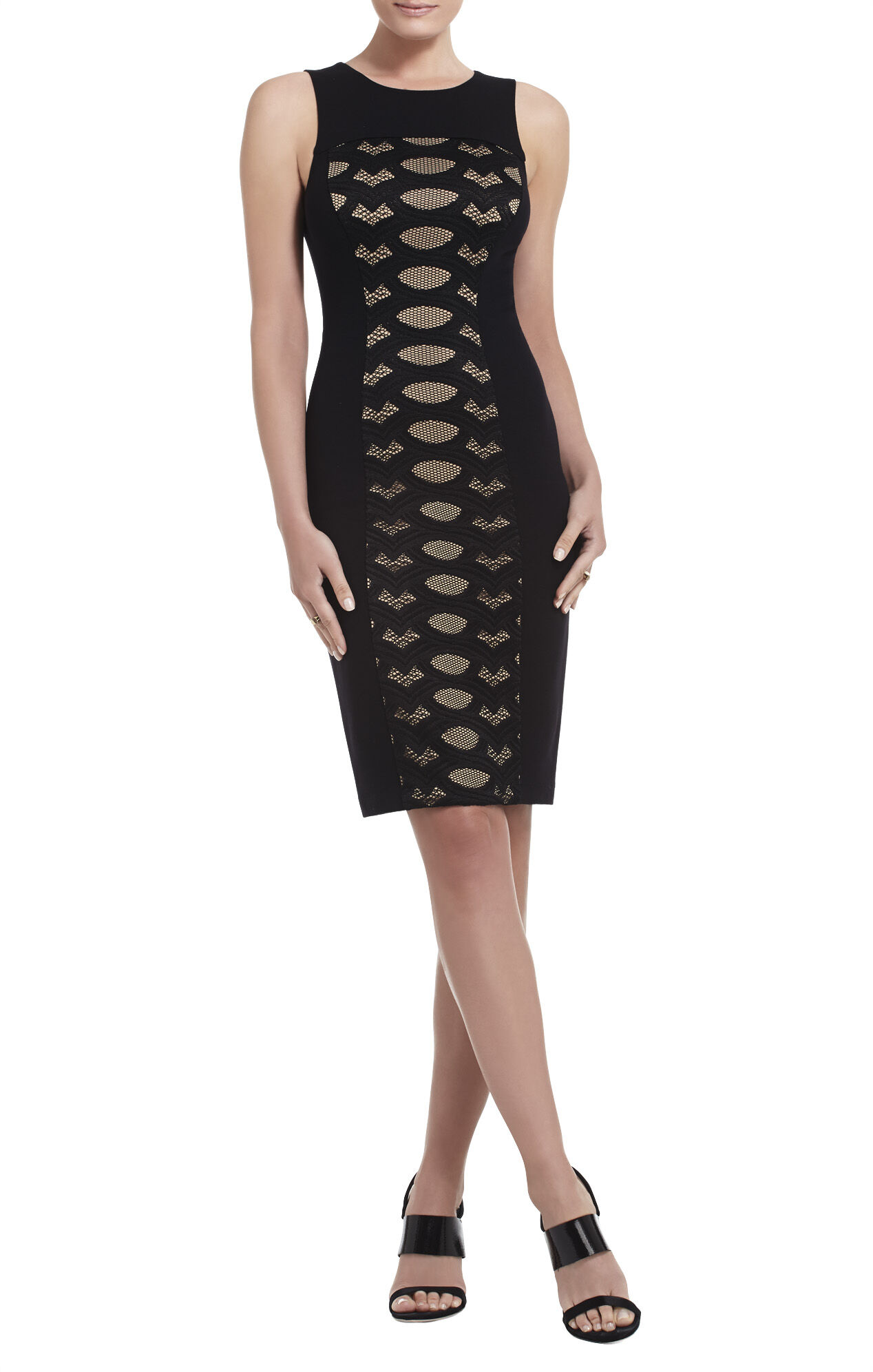 Leona Contrast-Knit Lace Dress