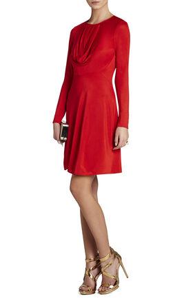 Sam Long-Sleeve Draped Dress