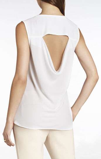 Ellan Sleeveless Draped-Placket Top