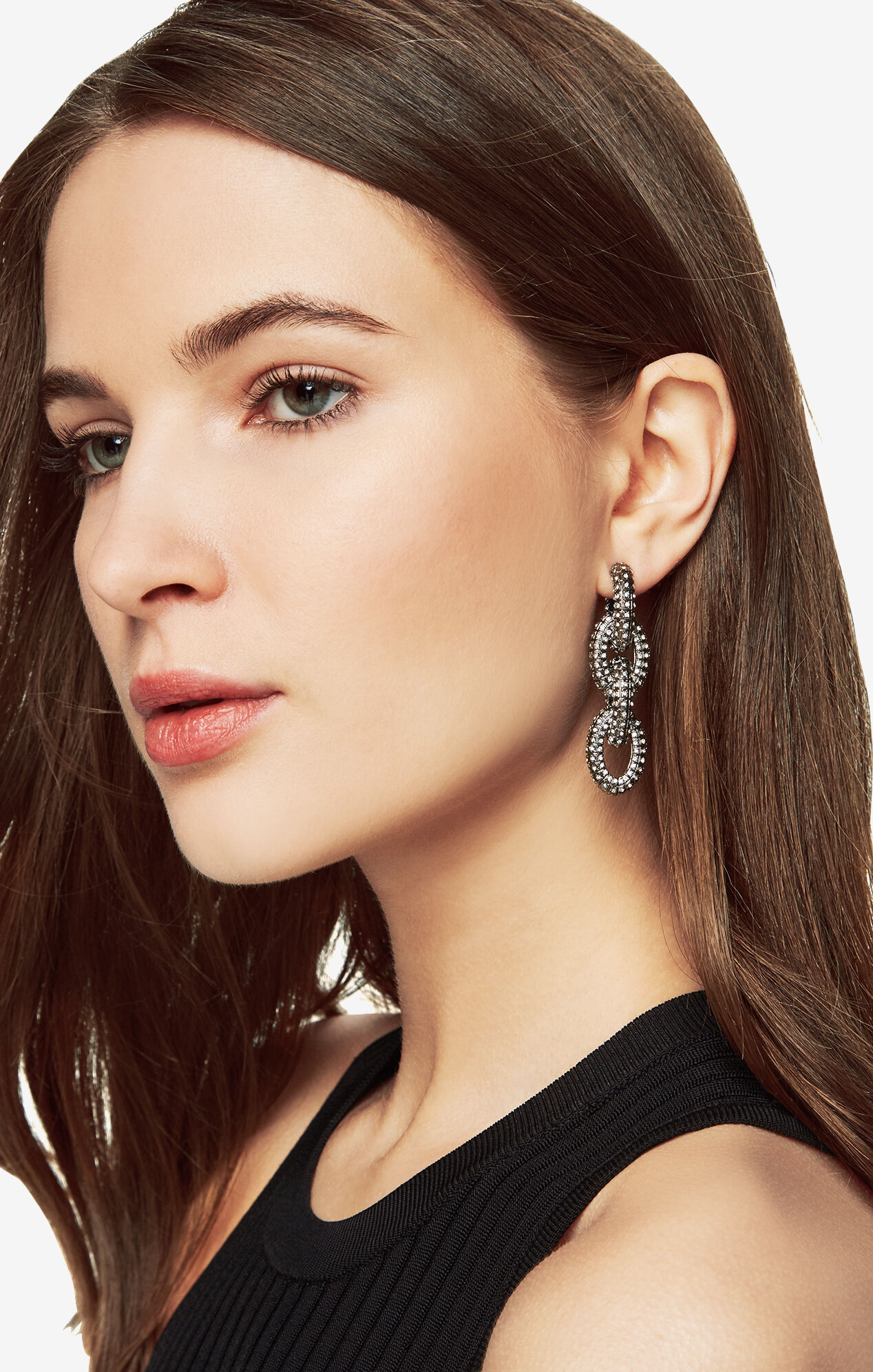 Pave Chain-Link Earrings