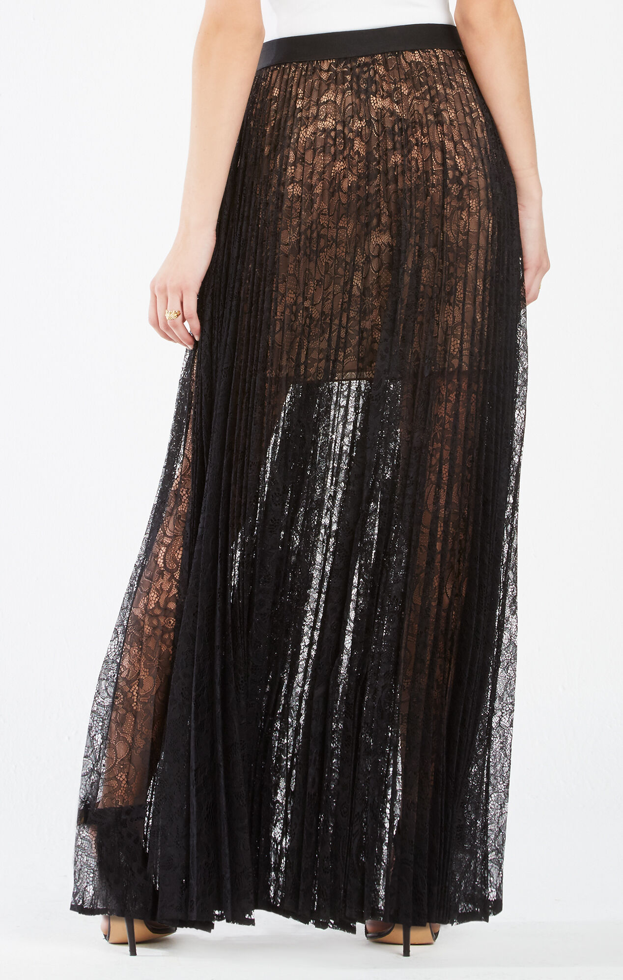 Esten Pleated Lace Maxi Skirt