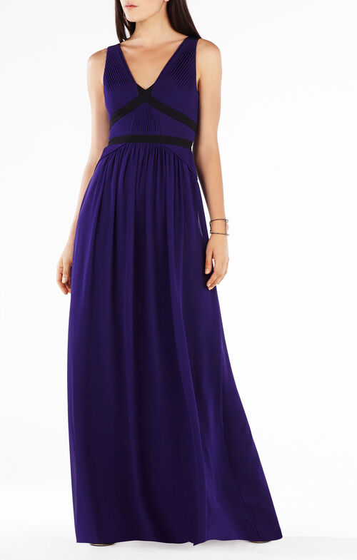 Aurica Color-Blocked Pleated Gown