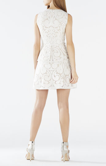 Adelise Sequin-Embroidered Peplum Dress