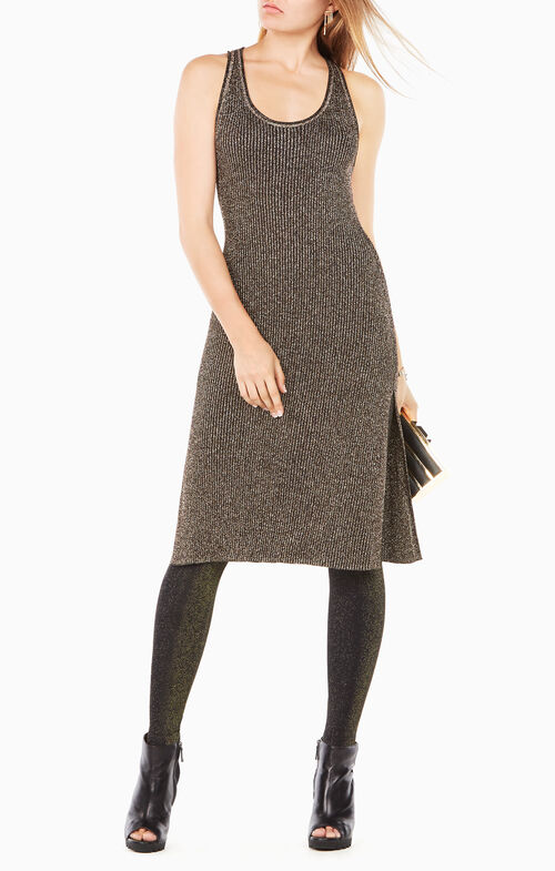 Margret Metallic Knit Dress