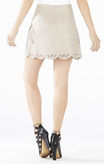 Jenhifer Embroidered Faux-Leather Miniskirt