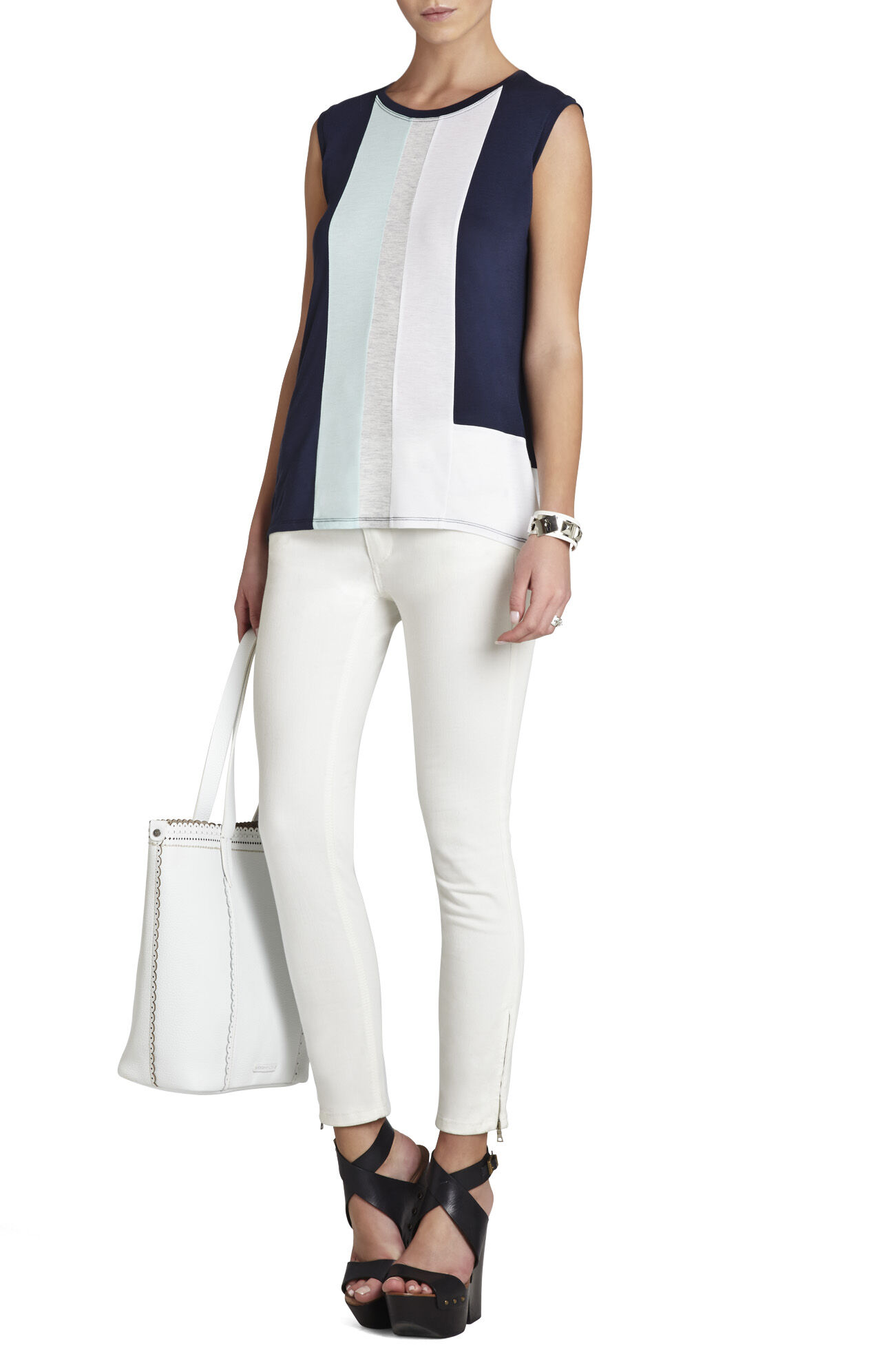 Gil Sleeveless Color-Block Top
