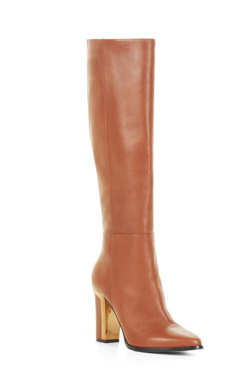 Oak High-Heel Leather Knee Boots