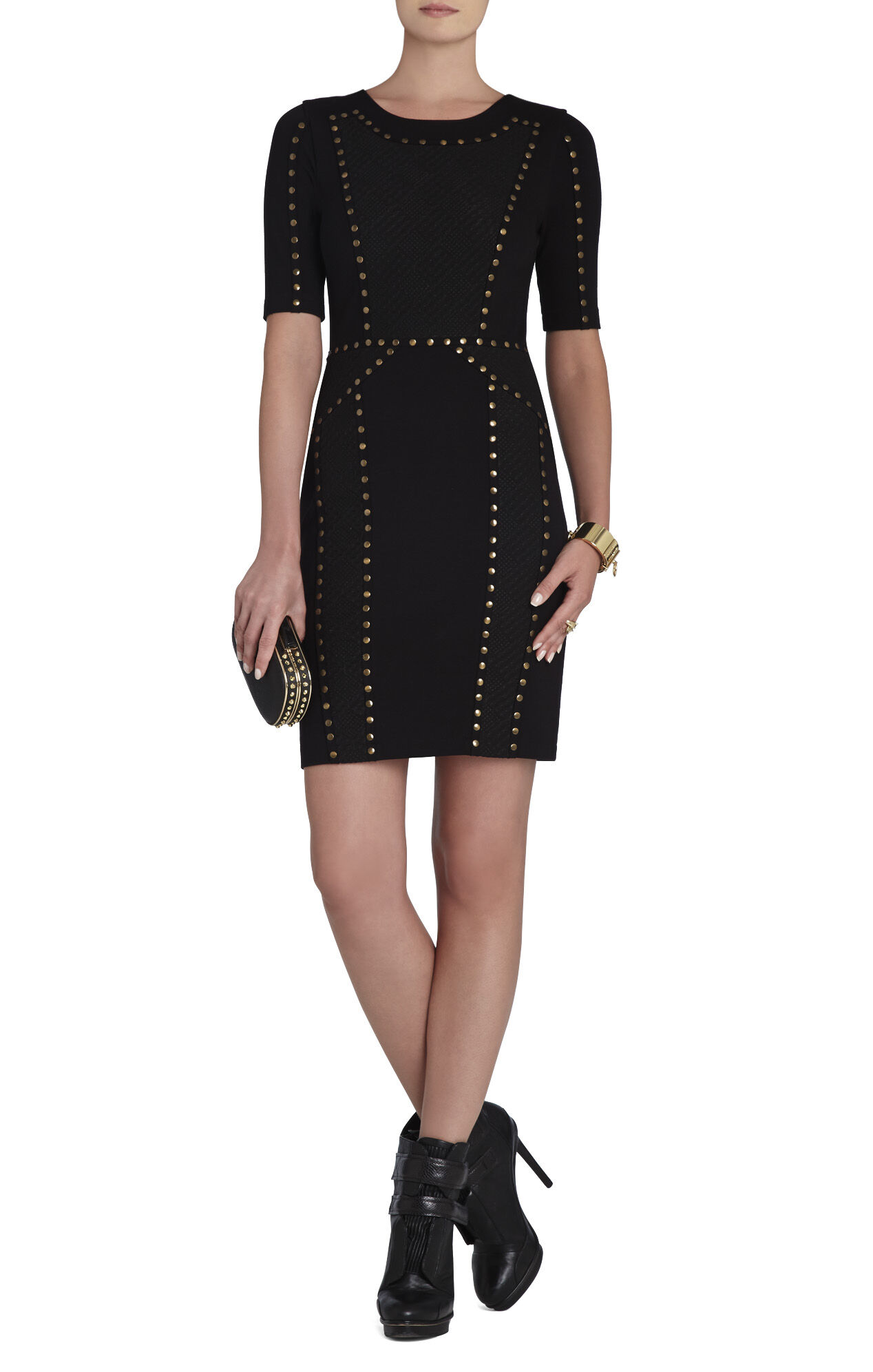 Isadora Studded Jacquard-Blocked Dress