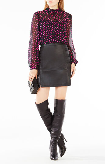 Roberta Dotted Ruffle Peasant Top