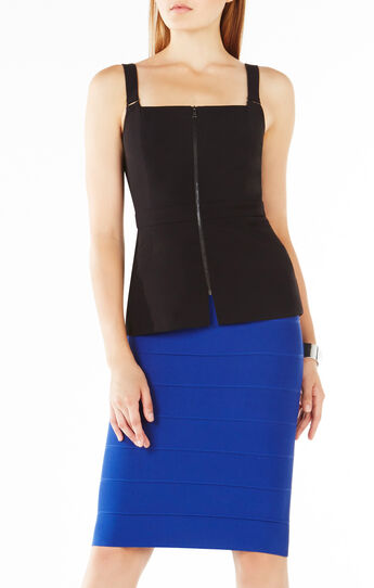 Charly Zip Front Peplum Top