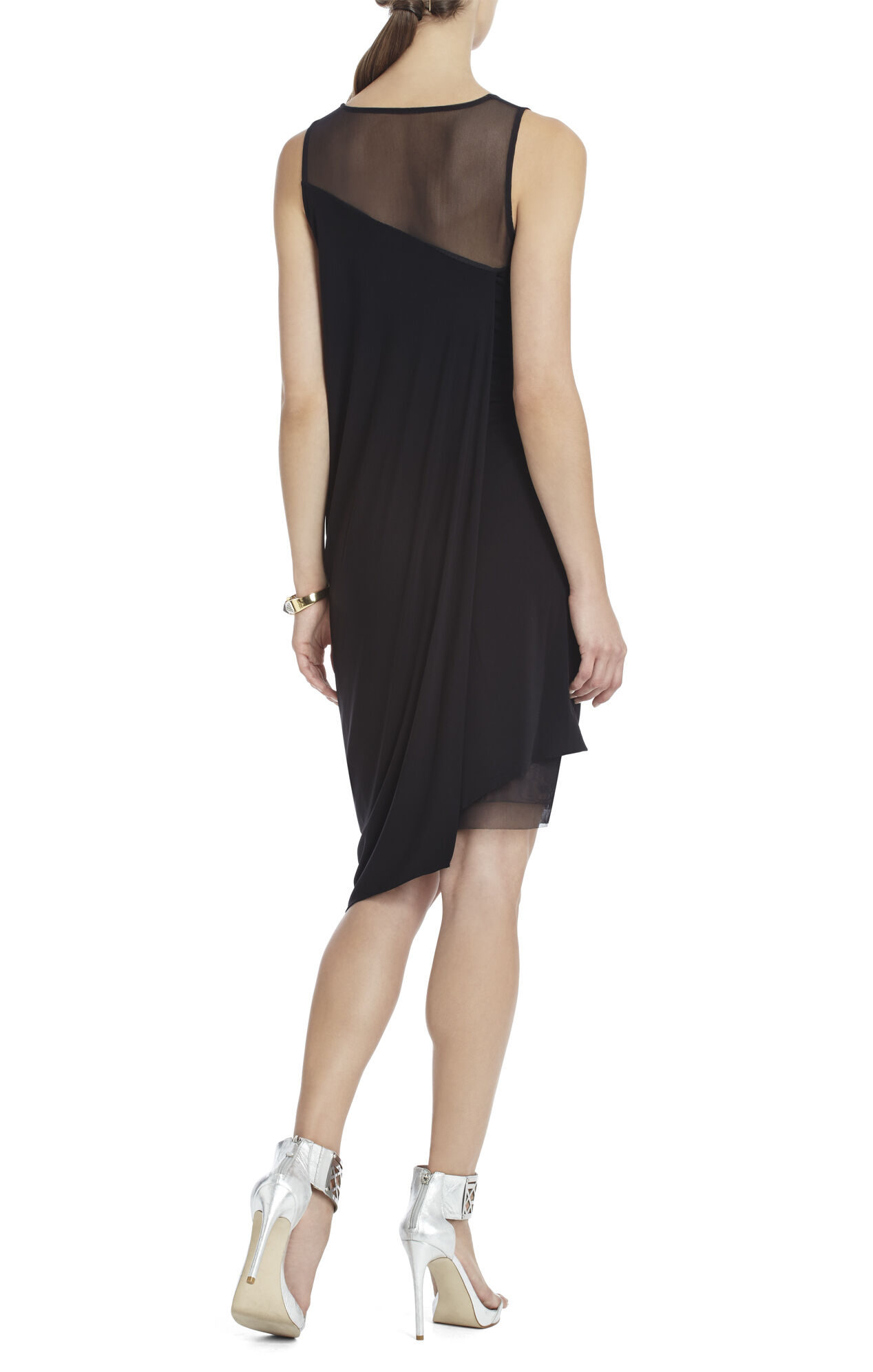 Adina Side-Draped Sleeveless Dress