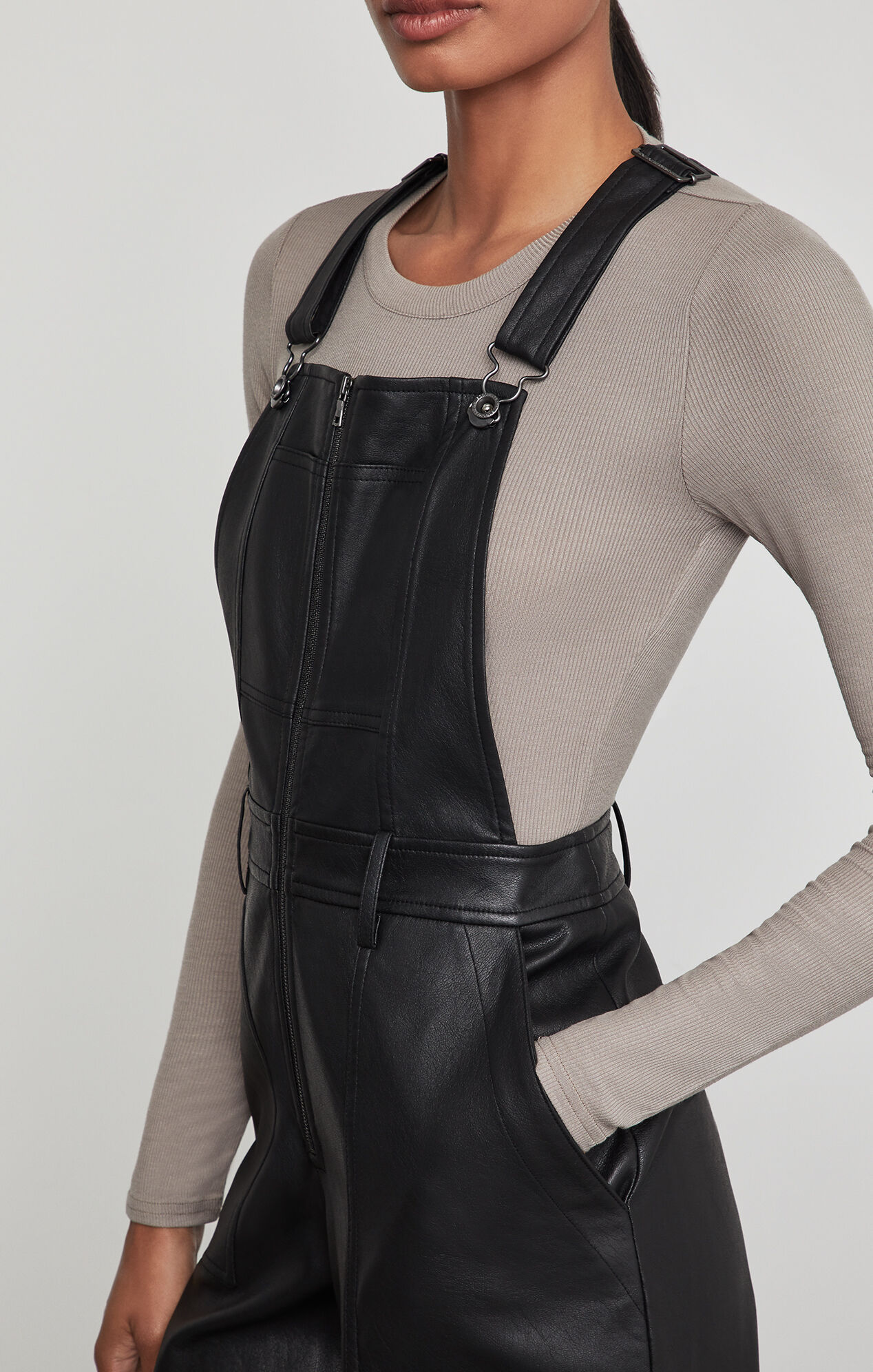 Jamee Faux-Leather Overalls