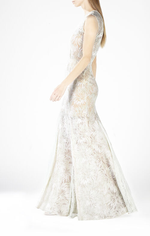 Marlyn Round-Neck Lace Gown