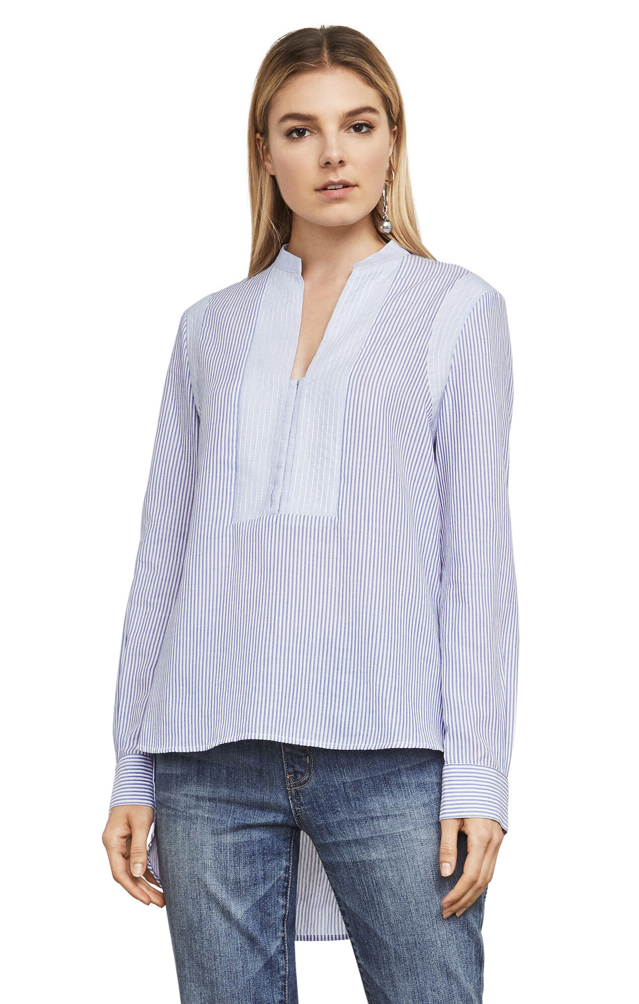 Jola Long-Sleeve Fabric-Blocked Top