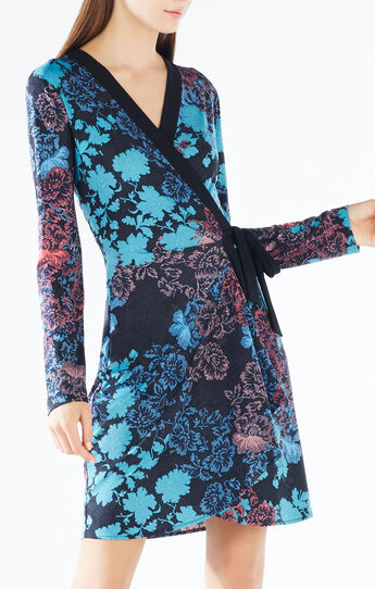 Adele Floral Lace Print Wrap Dress