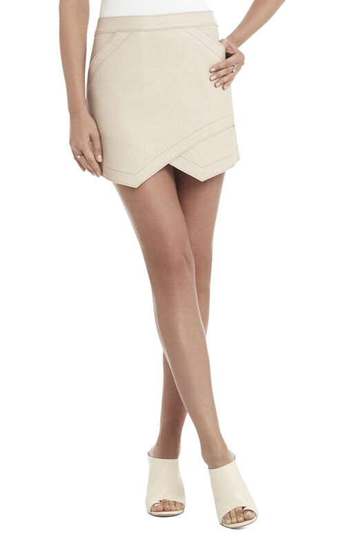 Owen Bonded Faux-Leather Skirt