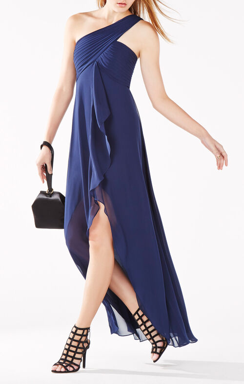 Audetta One-Shoulder Pleated Gown