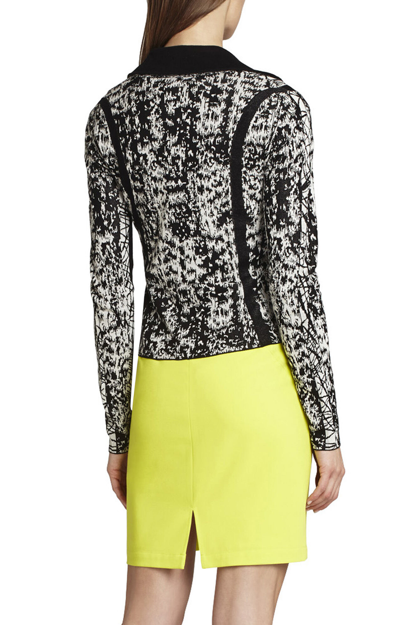 Eva Graphic Jacquard Moto Sweater Jacket