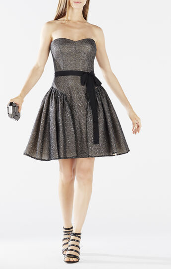 Kimmy Ruffled Metallic Lace Dress