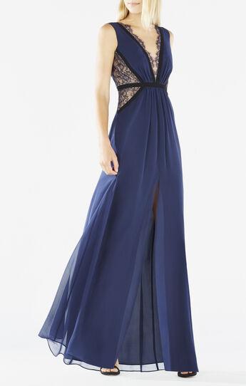 Klarissa Lace-Blocked Gown