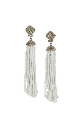 Seed-Beaded Fringe Earrings