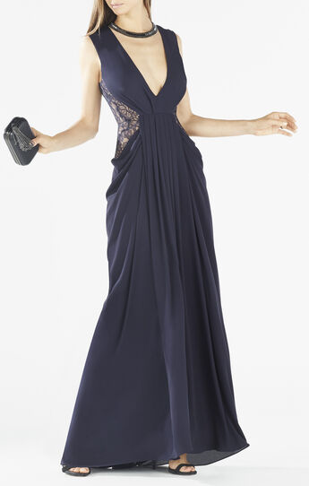 Kamara Deep-V Lace Draped Gown