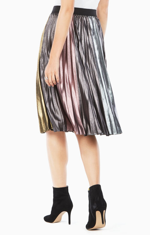 Marie Pleated Metallic Skirt