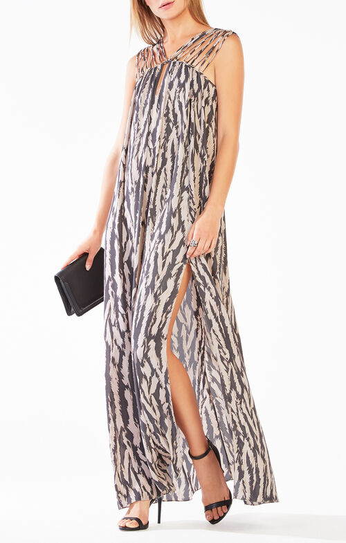 Audrii Multi-Strap Animal Print Maxi Dress