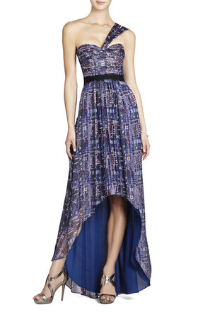 Inga One-Shoulder Printed Gown