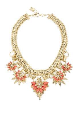 Floral-Stone Chain Necklace