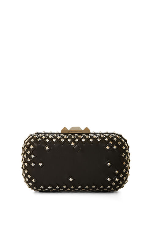 Kamile Studded Faux-Leather Clutch