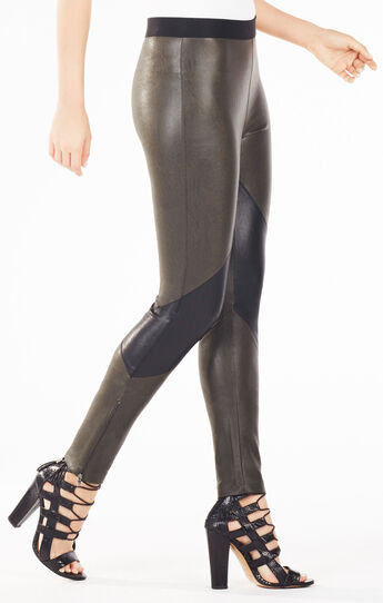 Jude Color-Blocked Faux-Leather Legging
