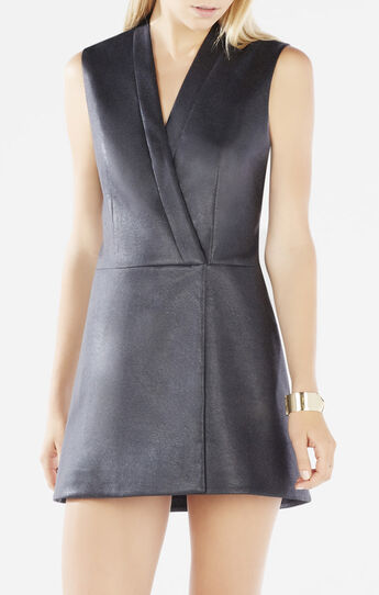 Caryn Faux-Leather Wrap Vest Dress
