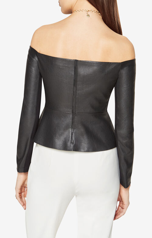 Judy Faux-Leather Peplum Top