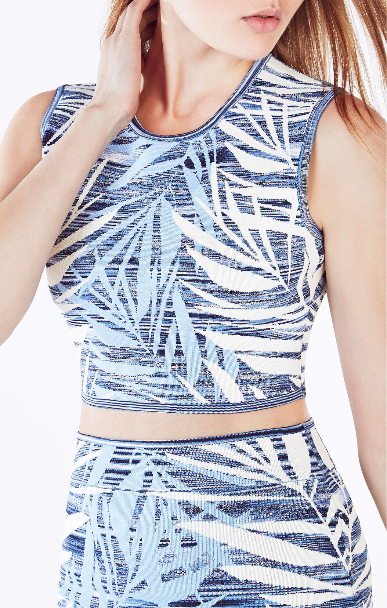 Jaelynnn Palms Print Knit Jacquard Crop Top