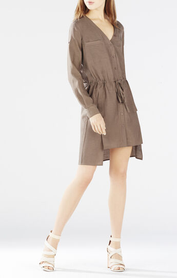 Daya Rolled-Sleeve Shirt Dress